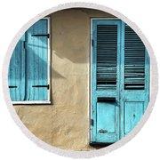 French Quarter Blues Round Beach Towel