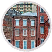 French Quarter Facades New Orleans Round Beach Towel