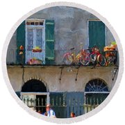 French Quarter Stroll 2 - New Orleans Round Beach Towel