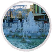 French Quarter Water Fountain Round Beach Towel