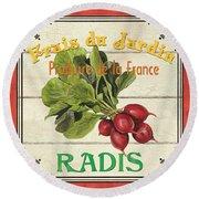 French Vegetable Sign 1 Round Beach Towel by Debbie DeWitt