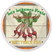 French Vegetable Sign 4 Round Beach Towel by Debbie DeWitt