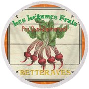 French Vegetable Sign 4 Round Beach Towel