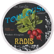 French Veggie Labels 3 Round Beach Towel
