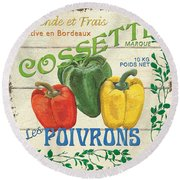 French Veggie Sign 4 Round Beach Towel