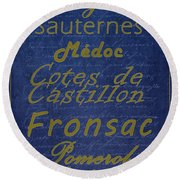 French Wines - 2 Champagne And Bordeaux Region Round Beach Towel