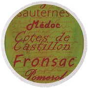 French Wines - 4 Champagne And Bordeaux Region Round Beach Towel