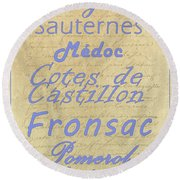 French Wines - Champagne And Bordeaux Region-1 Round Beach Towel