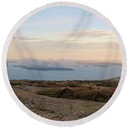 Frenchmans Bay From Cadillac Mountain Round Beach Towel