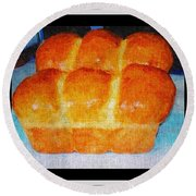 Fresh Baked Bread Three Bun Loaf Round Beach Towel