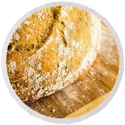 Fresh Baked Loaf Of Artisan Bread Round Beach Towel