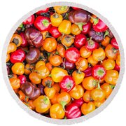 Fresh Colorful Hot Peppers Round Beach Towel