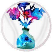 Fresh Cut - Vibrant Flowers Floral Painting Round Beach Towel