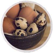 Fresh Eggs Round Beach Towel