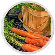 Fresh Garden Vegetables Round Beach Towel