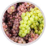 Fresh Grapes On Display Round Beach Towel