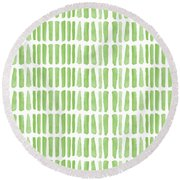 Fresh Grass- Abstract Pattern Painting Round Beach Towel by Linda Woods