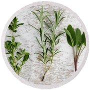 Fresh Herbs Round Beach Towel