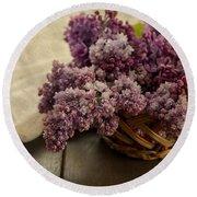 Fresh Lilacs In Brown Basket Round Beach Towel