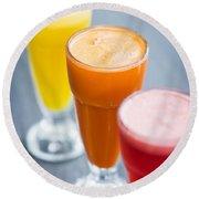Fresh Orange Carrot And Watermelon Fruit Juice Round Beach Towel
