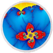 Fresh Orange Red And Blue Abstract Fractal Art Round Beach Towel