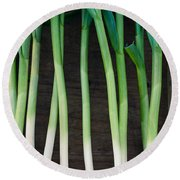 Fresh Picked Garlic Round Beach Towel