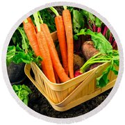 Fresh Picked Healthy Garden Vegetables Round Beach Towel