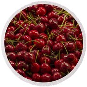 Fresh Red Cherries Round Beach Towel