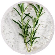 Fresh Rosemary Round Beach Towel by Nailia Schwarz