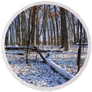 Fresh Snow In The Woods Round Beach Towel