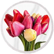 Fresh Spring Tulip Flowers Round Beach Towel