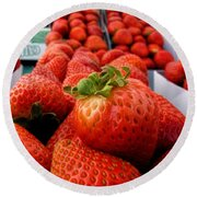Fresh Strawberries Round Beach Towel by Peggy Hughes