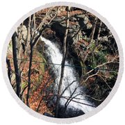 Fresh Water Streams Around Poconos Pa America Usa  Round Beach Towel