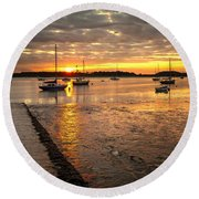 Fresh Water Sunset Round Beach Towel