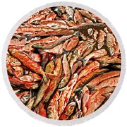 Freshly Catched Salmons At The Nenana River - Ak Round Beach Towel