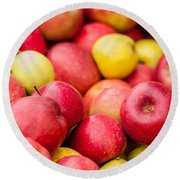 Freshly Harvested Colorful Crimson Crisp Apples On Display At Th Round Beach Towel