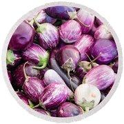 Freshly Harvested Purple Eggplants Round Beach Towel