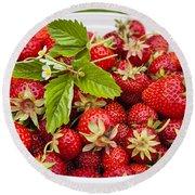 Freshly Picked Strawberries Round Beach Towel