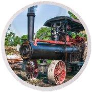 Frick Steam Tractor Round Beach Towel