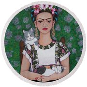 Frida Cat Lover  Round Beach Towel