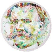 Friedrich Nietzsche Watercolor Portrait Round Beach Towel