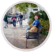 Friend And Companion - Watercolor Effect Round Beach Towel