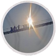 Friendly Nepali In The Sunlight On The Suspension Bridge Over The Seti River In Nepal  Round Beach Towel