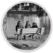 Friends In Black And White Round Beach Towel