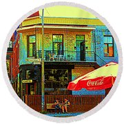 Friends On The Bench At Cartel Street Food Mexican Restaurant Rue Clark Art Of Montreal City Scene Round Beach Towel
