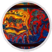 Friendship And Love Abstract Healing Art Round Beach Towel