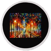 Friendship - Palette Knife Oil Painting On Canvas By Leonid Afremov Round Beach Towel