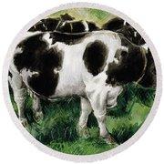Friesian Cows Round Beach Towel