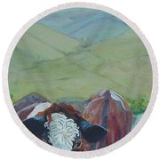 Friesian Holstein Cows Round Beach Towel