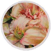 Frilly Pinks Round Beach Towel